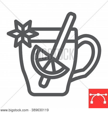 Mulled Wine Line Icon, Merry Christmas And Invitation, Glass Of Mulled Wine Sign Vector Graphics, Ed