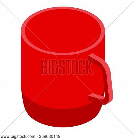 Red Plastic Mug Icon. Isometric Of Red Plastic Mug Vector Icon For Web Design Isolated On White Back