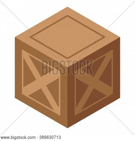 Wood Crate Box Icon. Isometric Of Wood Crate Box Vector Icon For Web Design Isolated On White Backgr