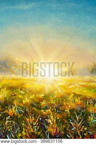 Original Oil Painting Abstract Background Grass Flowers In Rays Of Sun Fragment Of Painting On Canva