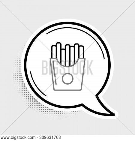 Line Potatoes French Fries In Carton Package Box Icon Isolated On Grey Background. Fast Food Menu. C