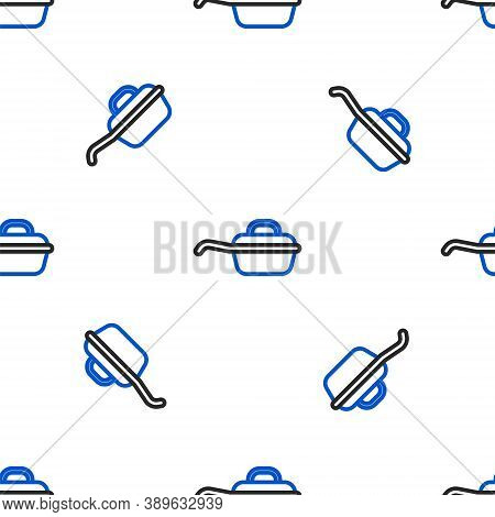 Line Frying Pan Icon Isolated Seamless Pattern On White Background. Fry Or Roast Food Symbol. Colorf