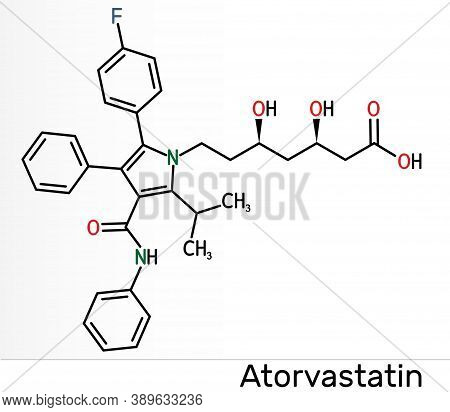 Atorvastatin, Statin Molecule. It Is Used For Lowering Blood Cholesterol And For Preventing Cardiova