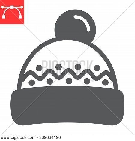 Winter Hat Glyph Icon, Merry Christmas And Clothing, Beanie Hat Sign Vector Graphics, Editable Strok