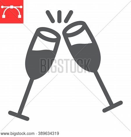 Champagne Glasses Glyph Icon, Merry Christmas And Toast, Two Glasses Of Champagne Sign Vector Graphi