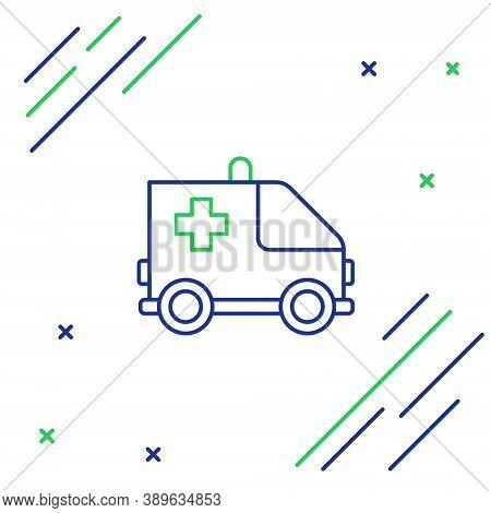 Line Ambulance And Emergency Car Icon Isolated On White Background. Ambulance Vehicle Medical Evacua