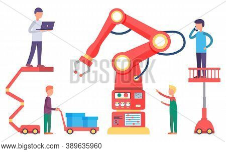 People Working On Factory With Automated Production. Workers Examine Mechanism On Manufacture. Moder