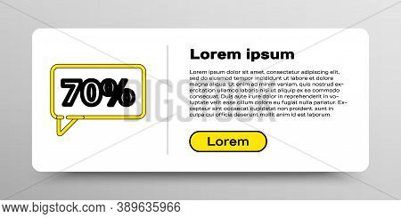 Line Seventy Discount Percent Tag Icon Isolated On White Background. Shopping Tag Sign. Special Offe