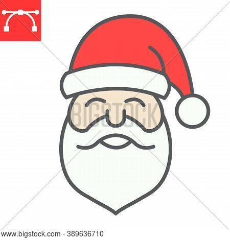 Santa Claus Color Line Icon, Merry Christmas And Xmas, New Year Sign Vector Graphics, Editable Strok