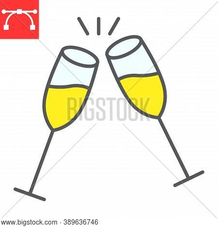 Champagne Glasses Color Line Icon, Merry Christmas And Toast, Two Glasses Of Champagne Sign Vector G