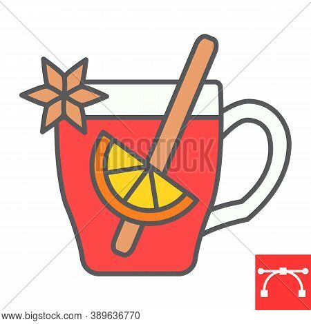 Mulled Wine Color Line Icon, Merry Christmas And Invitation, Glass Of Mulled Wine Sign Vector Graphi