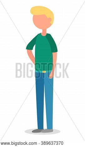 Blonde Man Startup Isolated Person Character In Flat Cartoon Style. Vector Guy In Green Shirt And Je
