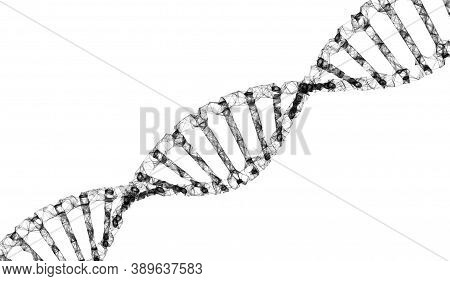 3d Render Of Dna Molecule Structure. Dna Abstract, Concept Dna Futuristic On Hi Tech Blue Background