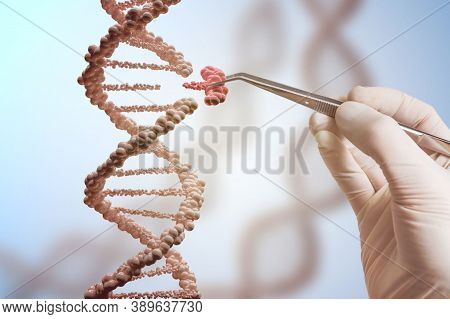 3d Render Of Dna Molecule Structure. Dna Abstract Medical And Health Care Background. Concept Dna Fu
