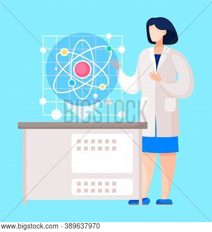 Scientists Conducting Experiment In Laboratory. Female Character, Chemist Showing Molecule. Atom Wit