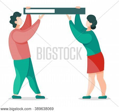Man And Woman Holding Folder With Documents Above Head, Information. Vector Illustration Of People W