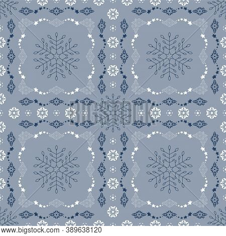 Seamless Pattern Christmas Theme. Snowflakes And Frieze With Stars. Pretty Colors Ice Blue, Blue And