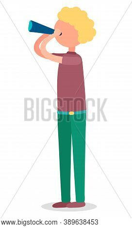 Man Standing And Holding Spyglass. Boy Or Adult Watching Or Observing Something Through Hand Telesco