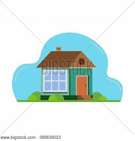 House. Flat Design Suburban Landscape. Vector Abstract Architecture Illustration.