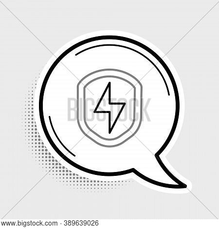 Line Secure Shield With Lightning Icon Isolated On Grey Background. Security, Safety, Protection, Pr