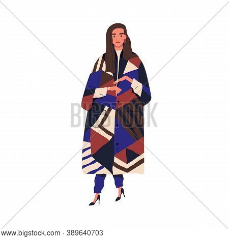 Young Stylish Woman In Fashionable Autumn Outerwear. Female Character Demonstrating Trendy Clothes.
