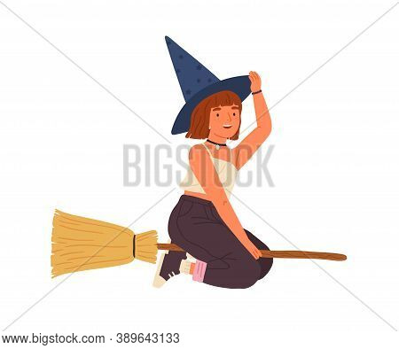 Cute Girl In Witch Hat Flying On Broomstick. Happy Female Wizard Or Sorcerer Sitting On Magic Broom.