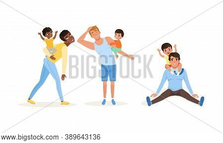 Exhausted Dad And Hyperactive Child Claiming Attention Vector Illustration Set