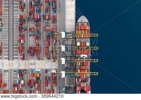 Container Cargo Ship Loading At Port, Freight Transportation Import Export And Business Logistic By