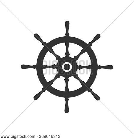 Helm Wheel Ship Graphic Icon. Steering Wheel Sign Isolated On White Background.  Vector Illustration