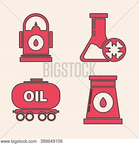 Set Oil And Gas Industrial Factory Building, Petrol Or Gas Station, Antifreeze Test Tube And Oil Rai