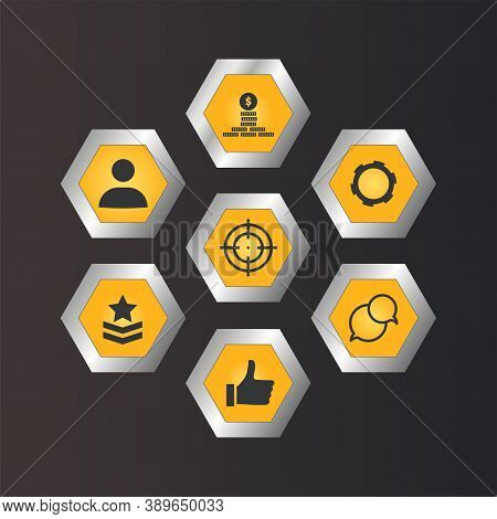 Set Of Mobile Action Game Icons. App Template Hexagon Buttons For Shooting Game, User Interface Symb