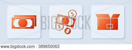 Set Money Cash And Coin, Stacks Paper Money Cash And Carton Cardboard Box. White Square Button. Vect