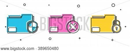 Set Document Folder Protection, Delete Folder And Folder And Lock Icon. Vector
