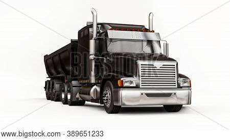 Large Black American Truck With A Trailer Type Dump Truck For Transporting Bulk Cargo On A White Bac