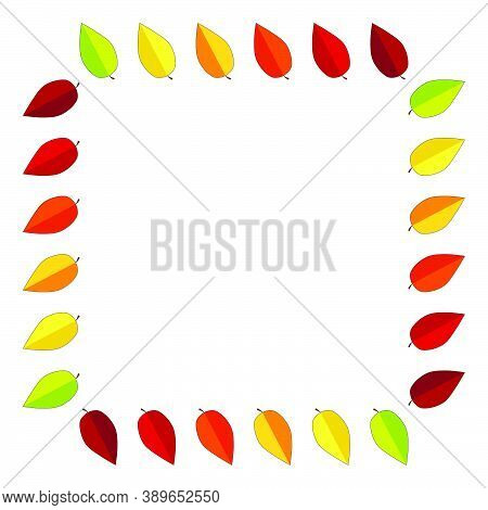 Autumnal Frame With Leaves And Text Space. Fall Background Design With Copy-space. Colorful Leaf Squ