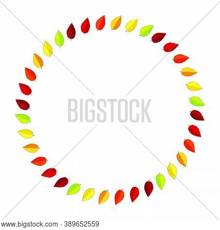 Circular Frame With Autumn Leaves For Seasonal Invitation. Autumnal Blank Wreath With Copy-space. Ci