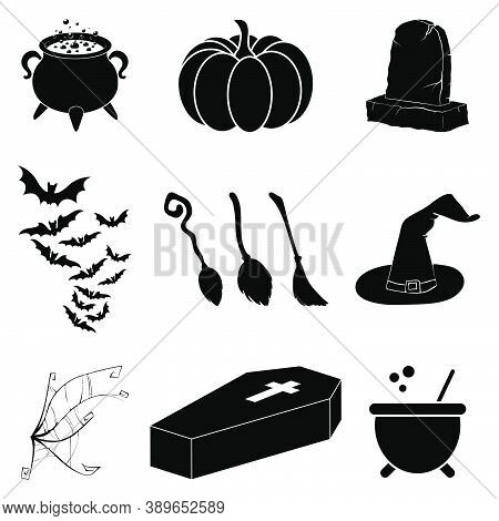 Halloween Silhouette Vector Set. Collection Of Black Illustration For Horror Holiday Celebration. Cr