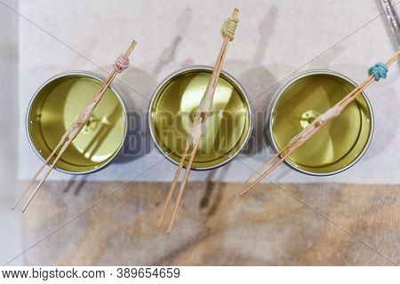 Hand Made Scented Aromatherapy Candles Setting During The Making Process