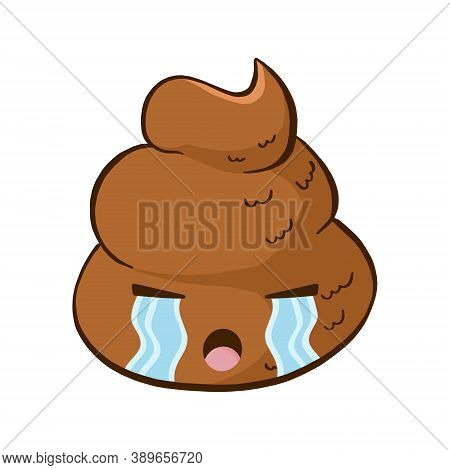 Vector Crying Poop Emoji. Funny Poo Emoticon With Upset Expression.