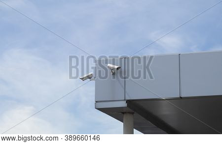 Two Cctv Cameras On The Corner Of The Building. Cameras For Monitoring And Fixing Violations