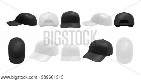 White And Black Caps Set. Collection Of Realism Style Drawn Sport Baseball Headwear Template From Fr