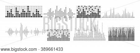 Realistic Sound Waves Set. Collection Of Audio Different Frequency Radio Music Signals. Illustration