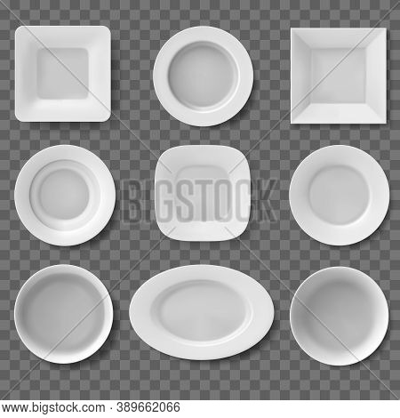 Realistic Plates. Food Dish, Empty Clean Bowl, Kitchen Utensil, Food White Plates, Dishes And Bowls.