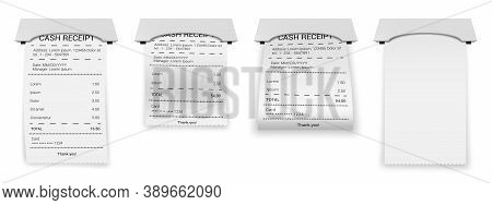 Realistic Atm Bills. Paper Printed Bill Or Bank Invoice Transaction, Financial 3d Paper Check, Print
