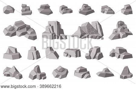 Rocks And Stones. Granite Mountain Pebble, Grey Stone Heap, Stone Gravel Rock Isolated Vector Illust