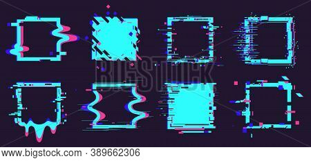 Glitch Broken Frames. Distortion Dynamic Square Elements, Noise Defect Geometry Figures Isolated Vec