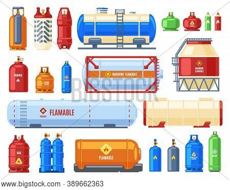 Dangerous Gas Containers. Gas Steel Cylinder And Tank, Butane, Oxygen Or Helium Metal Containers, Fl
