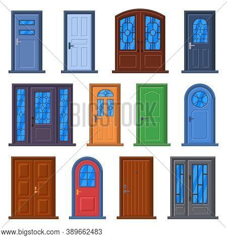 Modern Doors. Front Entrance Doors, House, Building Or Room Doorway, Closed Building Exterior And In