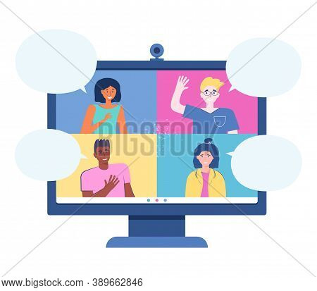 Video Conference From Home For Virtual Meeting And Remote Work Online. Teleconference. Monitor With