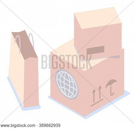 Isometric Image Of Cardboard Postal Parcels, Boxes, Paper Shopping Package. Globe Icon, Postage Stam